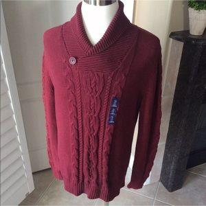 Gap Cable Knit Sweater | Cotton Burgundy V-Neck